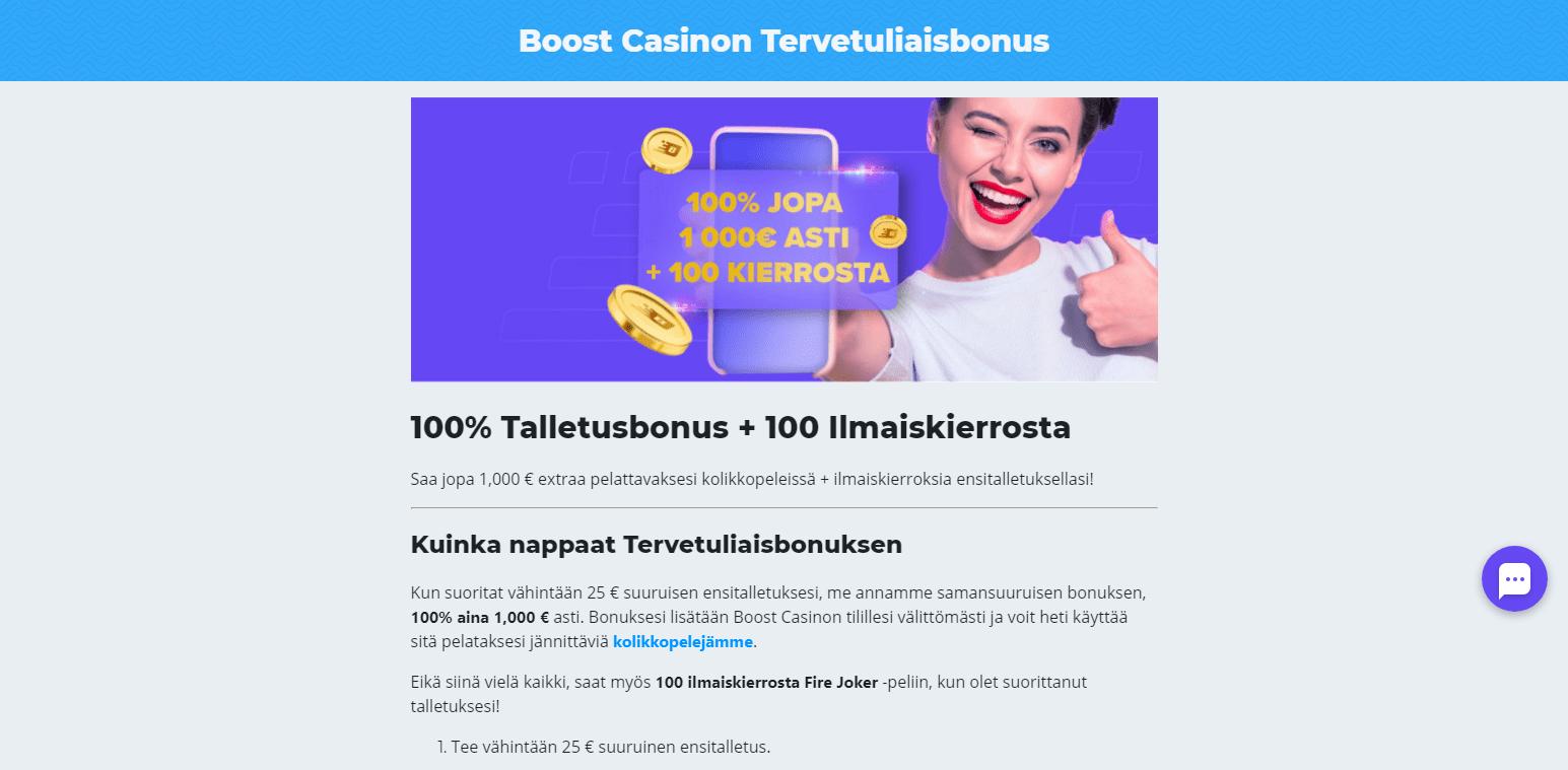 Boost Casino Bonukset