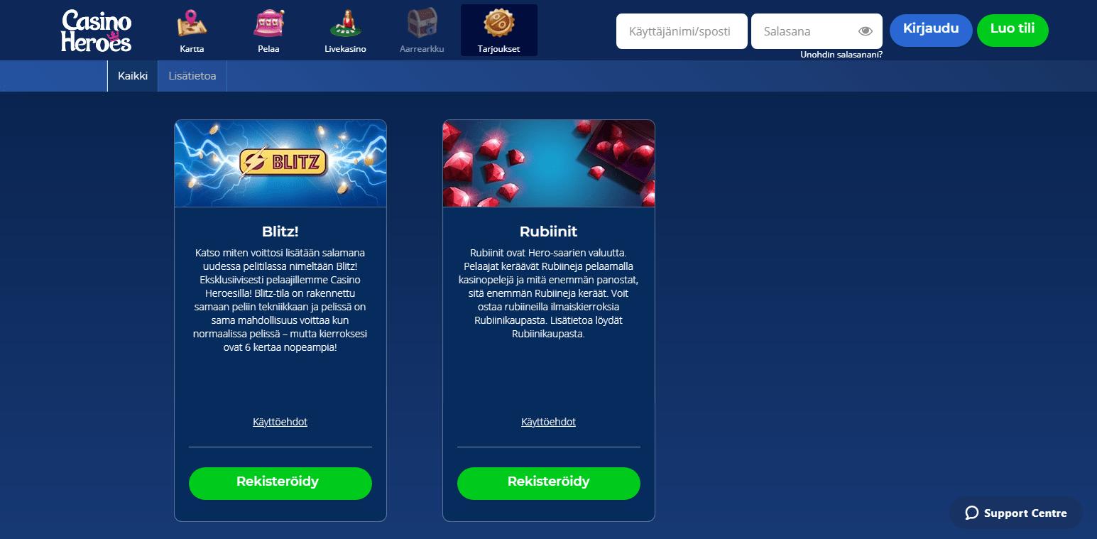 Heroes Casino Bonukset