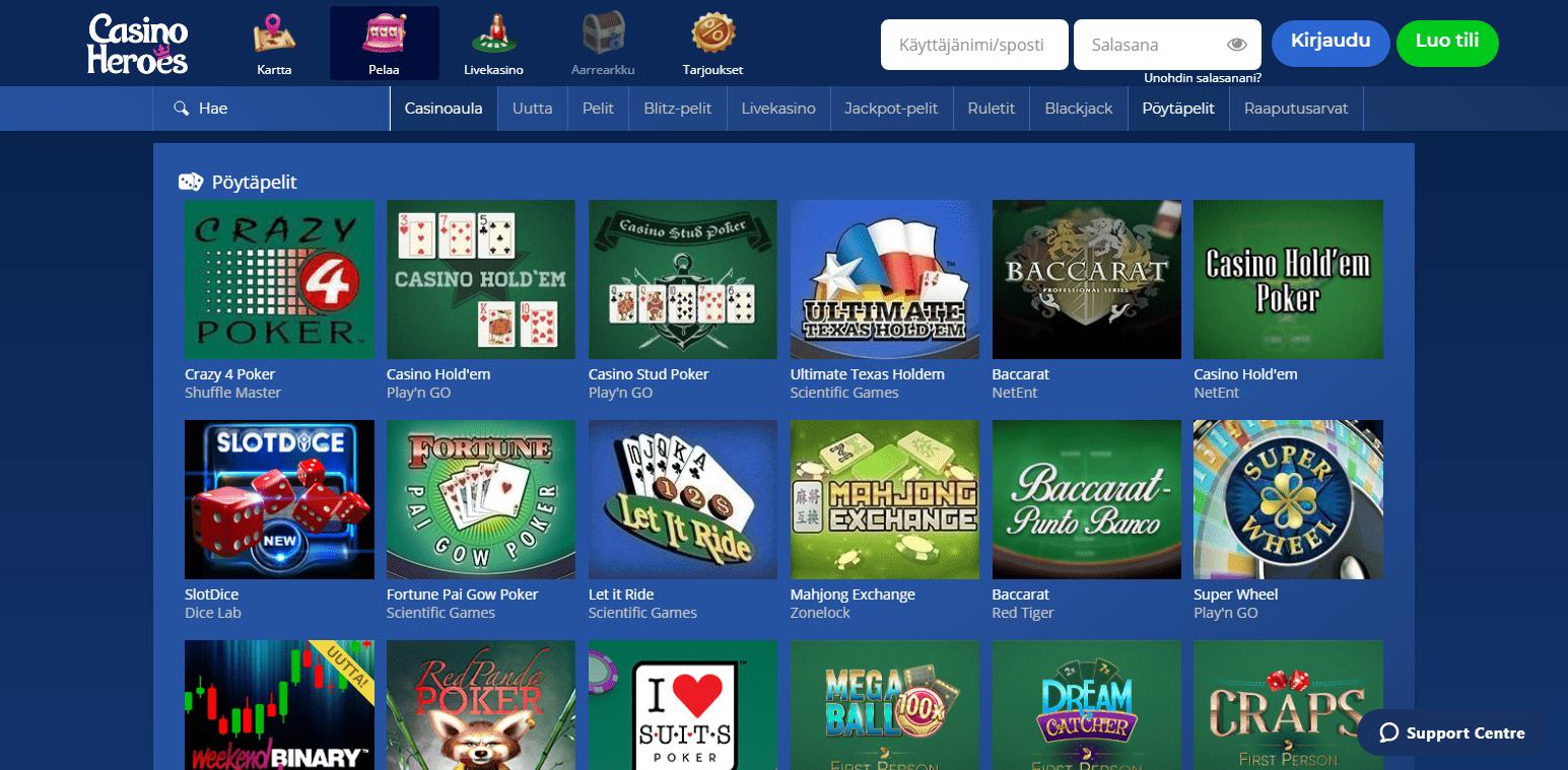 Casino Heroes korttipelit