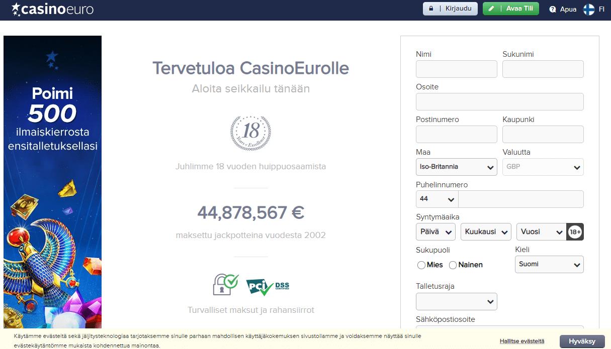 Casinoeuro rekisteröinti