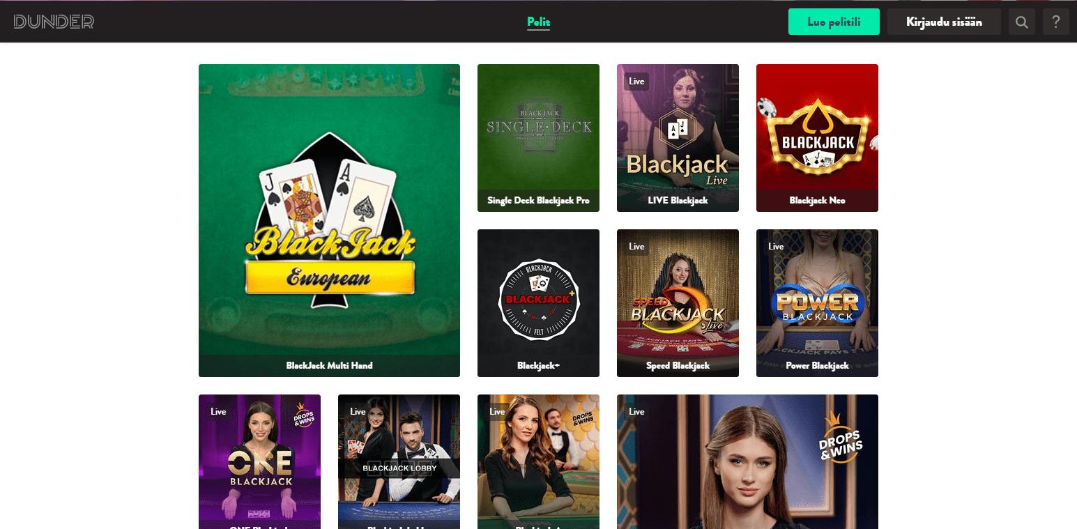 Dunder Casino korttipelit