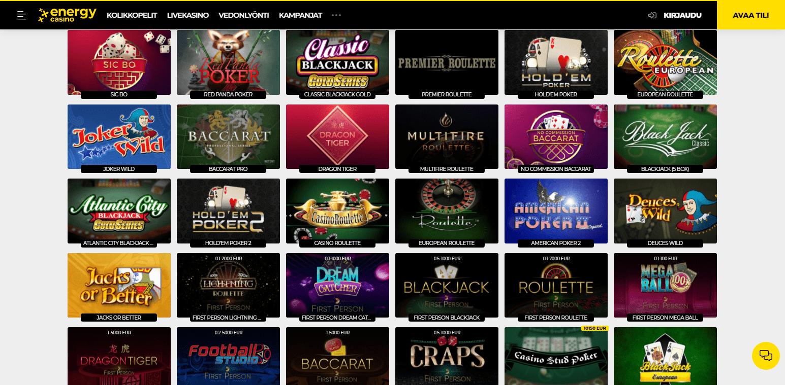 Energy Casino korttipelit