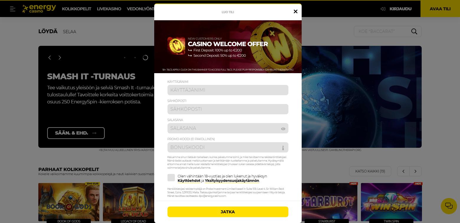Energy Casino rekisteröinti