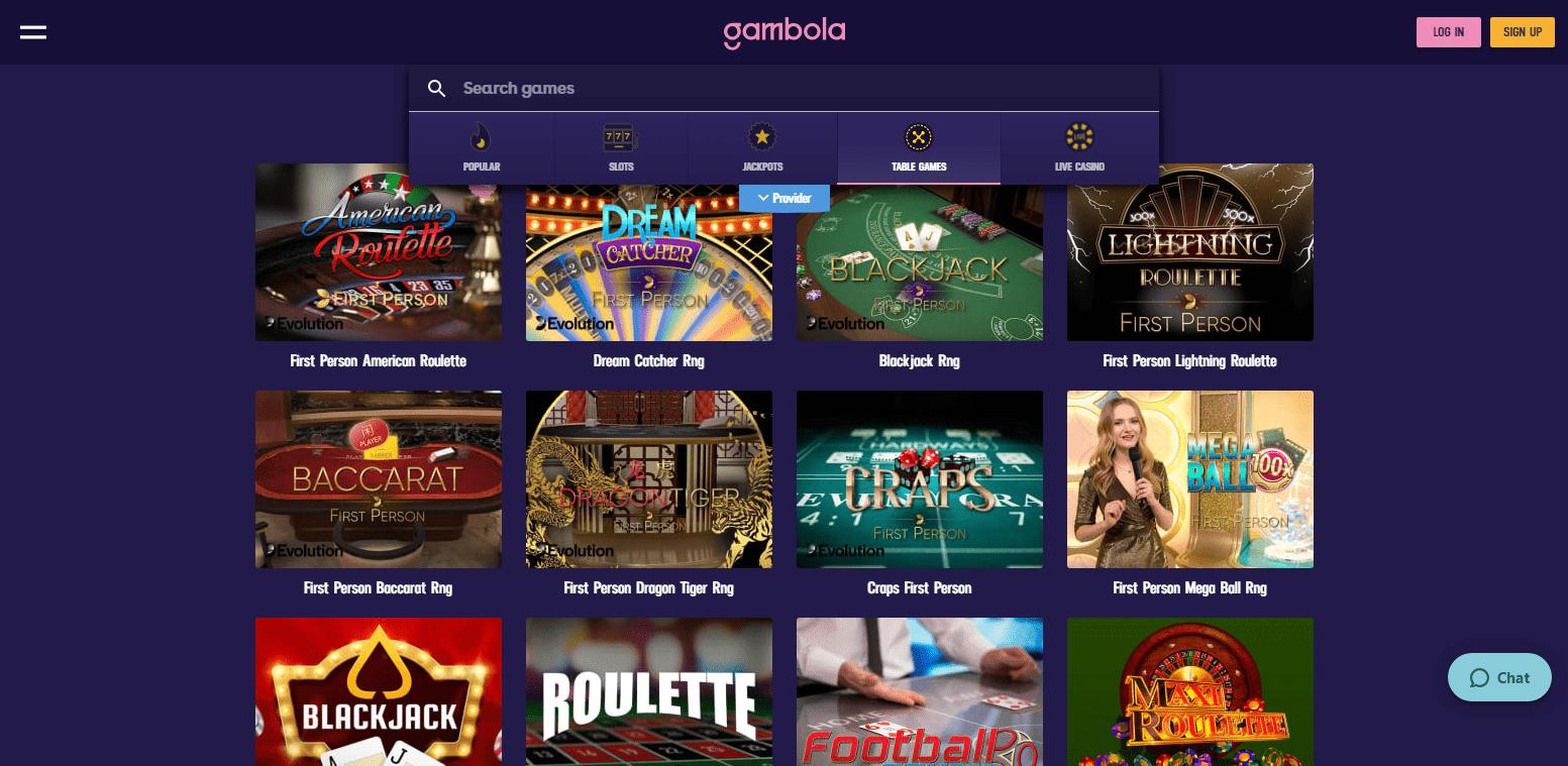 Gambola Casino korttipelit
