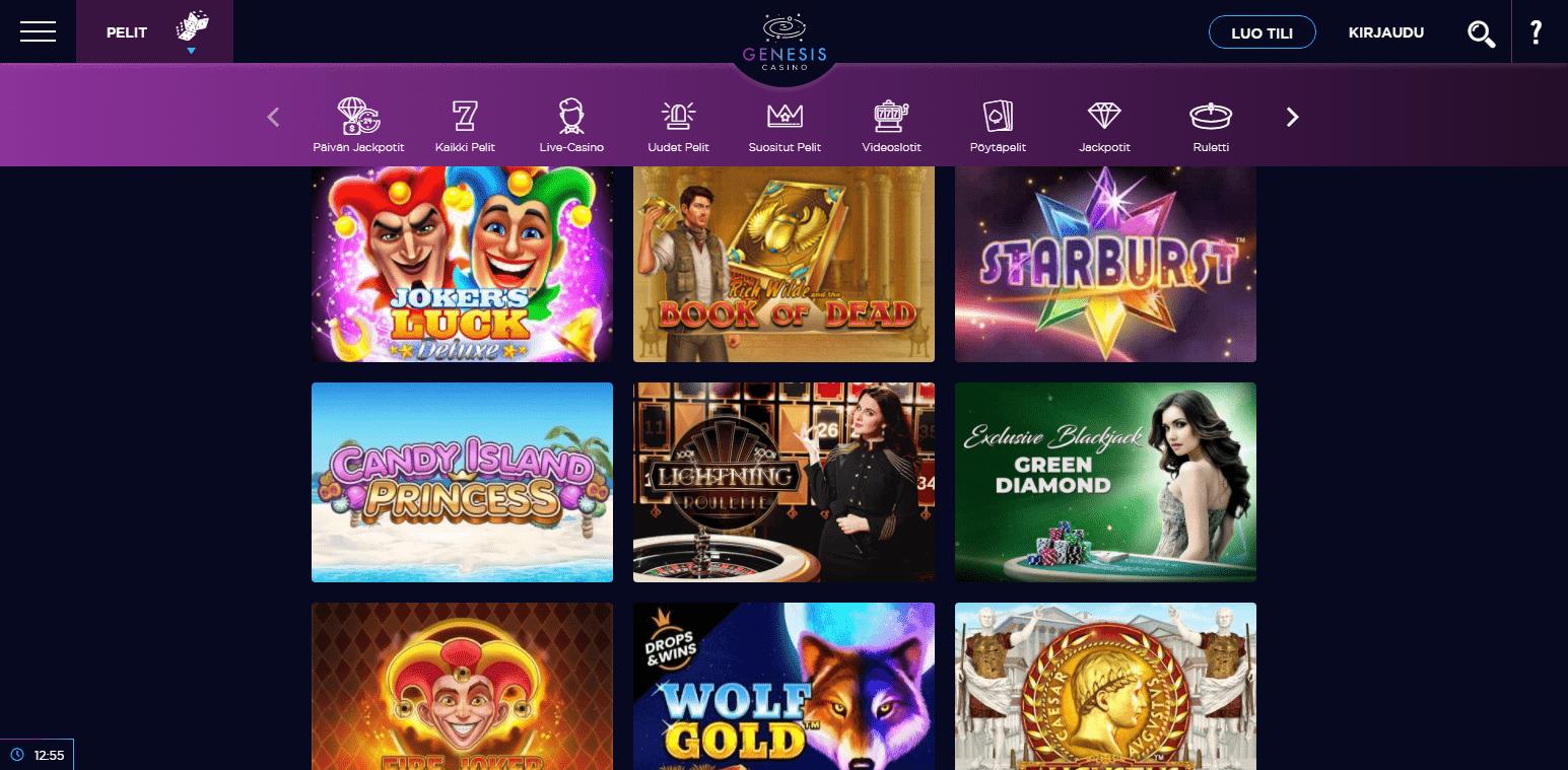 Genesis Casino korttipelit