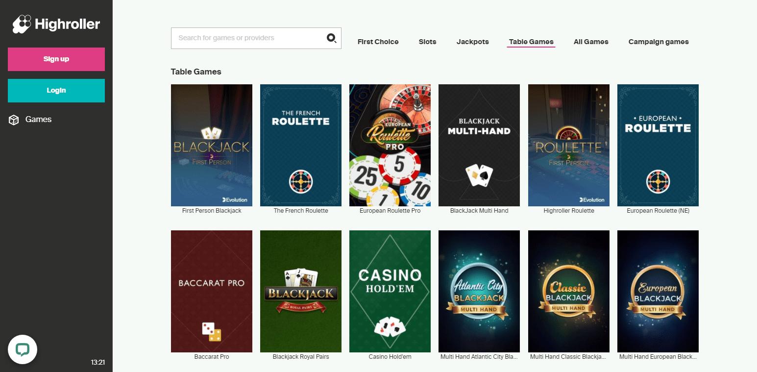 highroller Casino korttipelit