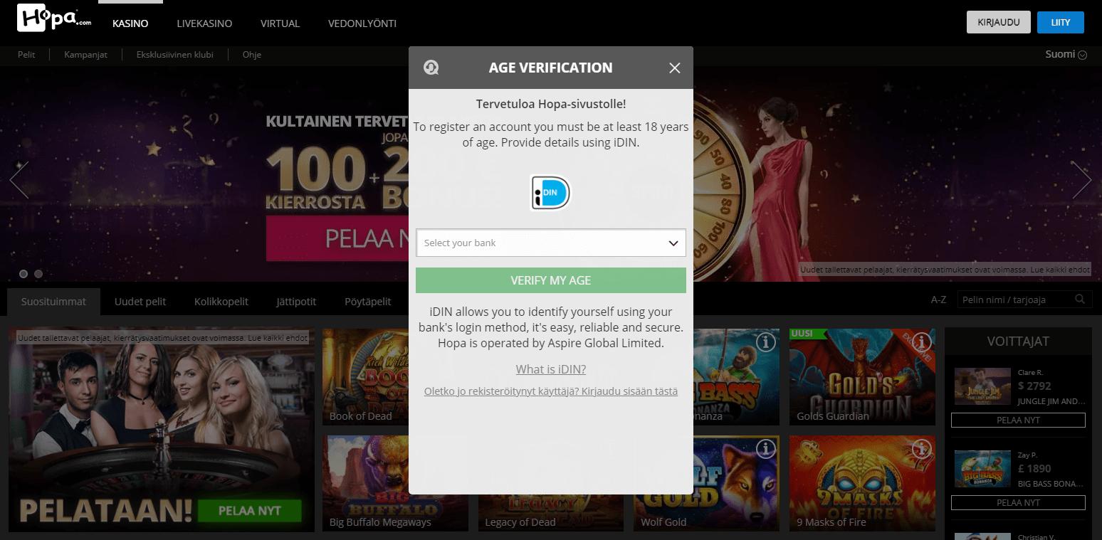 Hopa Casino rekisteröinti