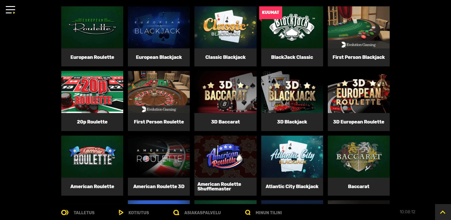 Hyper Casino korttipelit