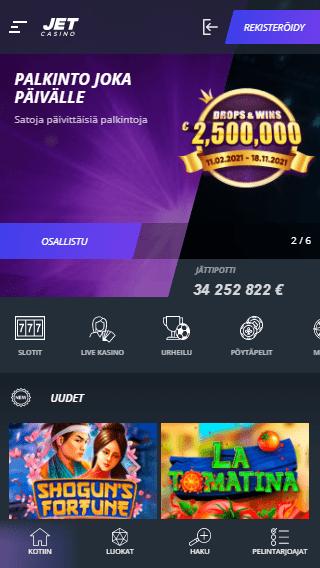 Jet Casino mobiili