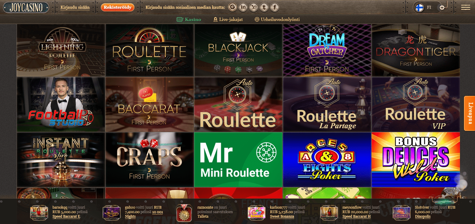 Joy Casino korttipelit