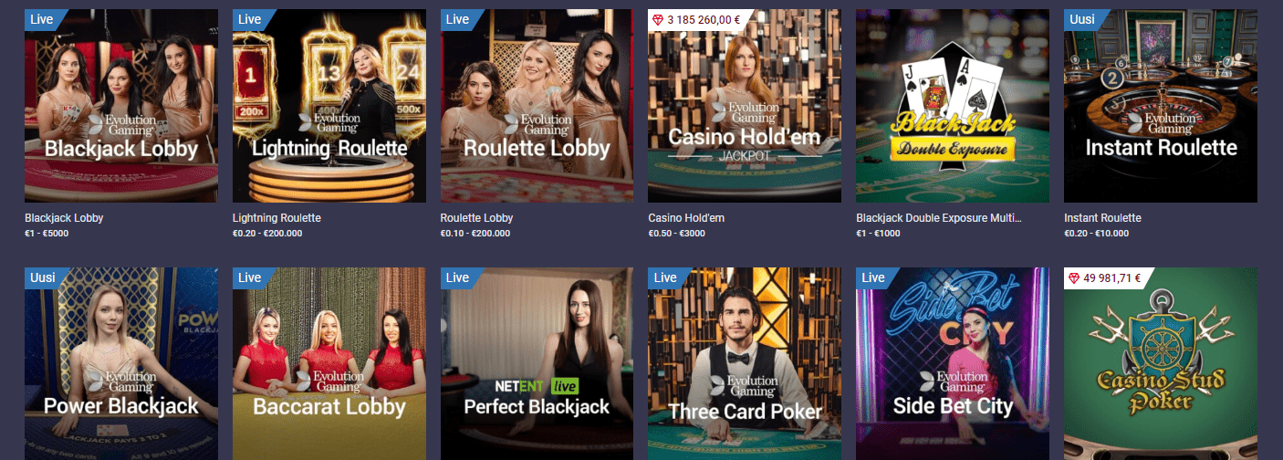 Maria Casino korttipelit