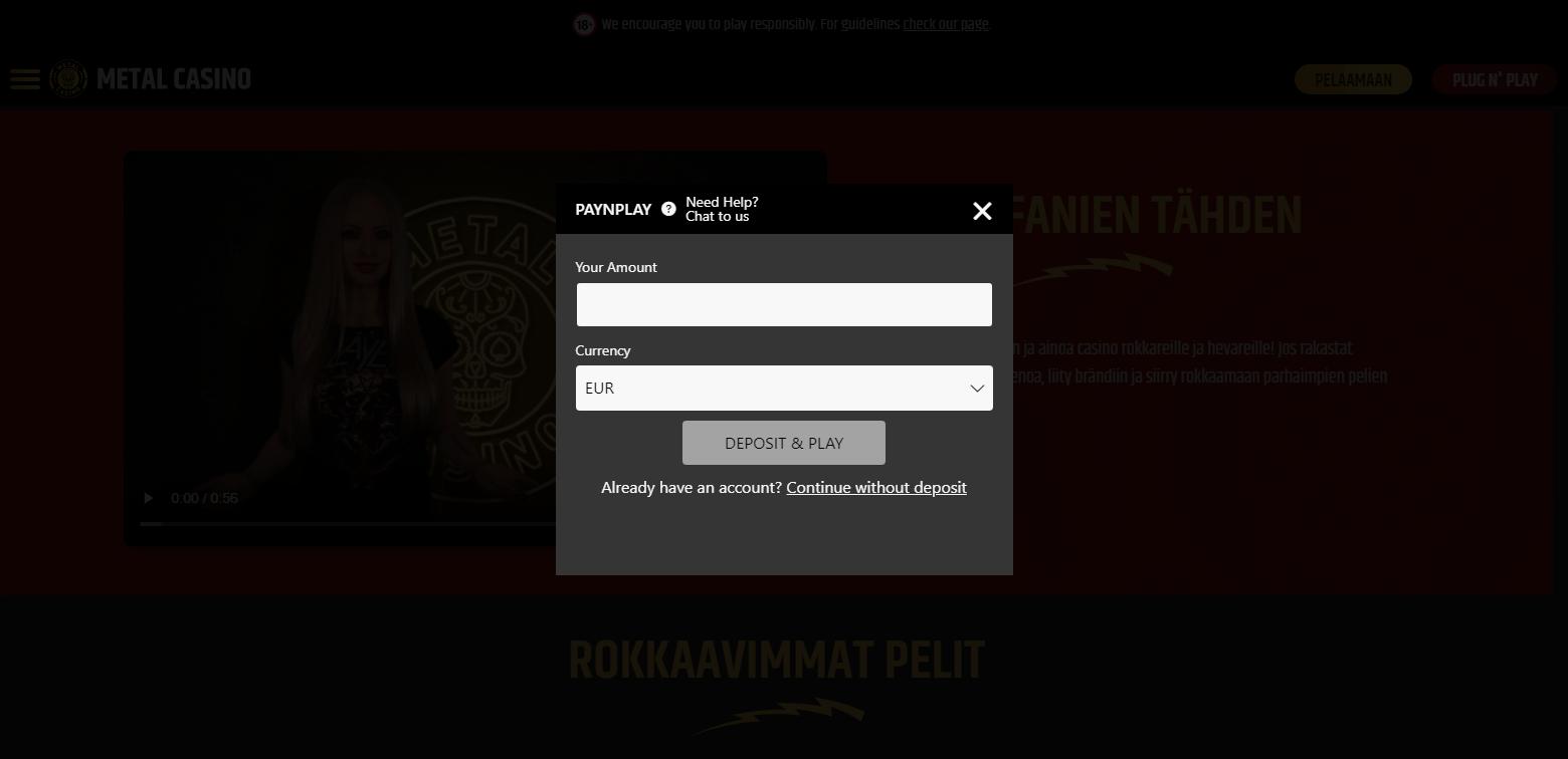 Metal Casino rekisteröinti