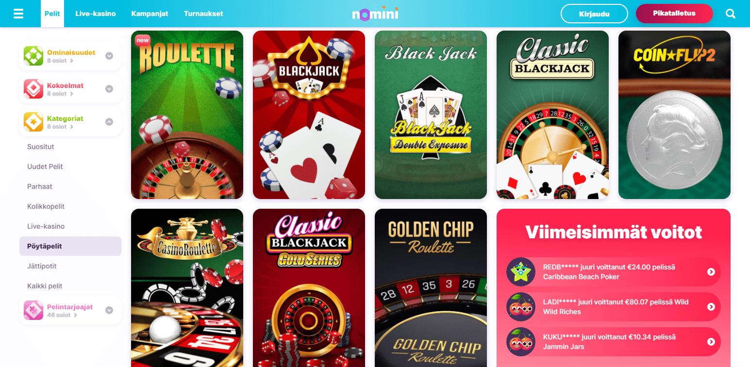 Nomini Casino korttipelit