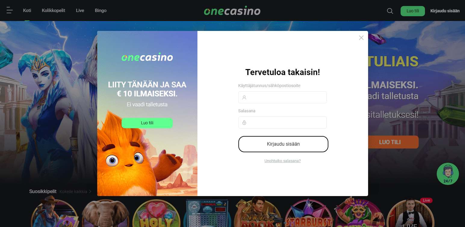 One Casino rekisteröinti