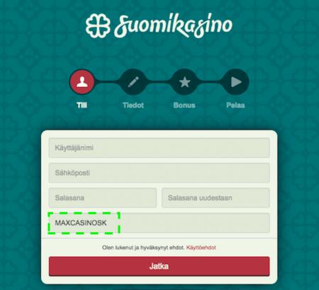 Suomikasino rekisteröinti