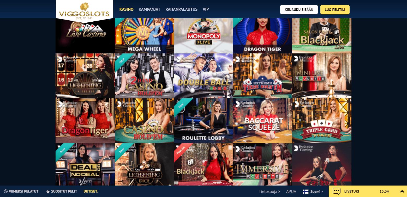 Viggoslots Casino korttipelit