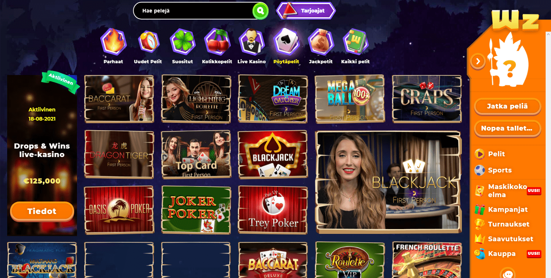Wazamba Casino korttipelit
