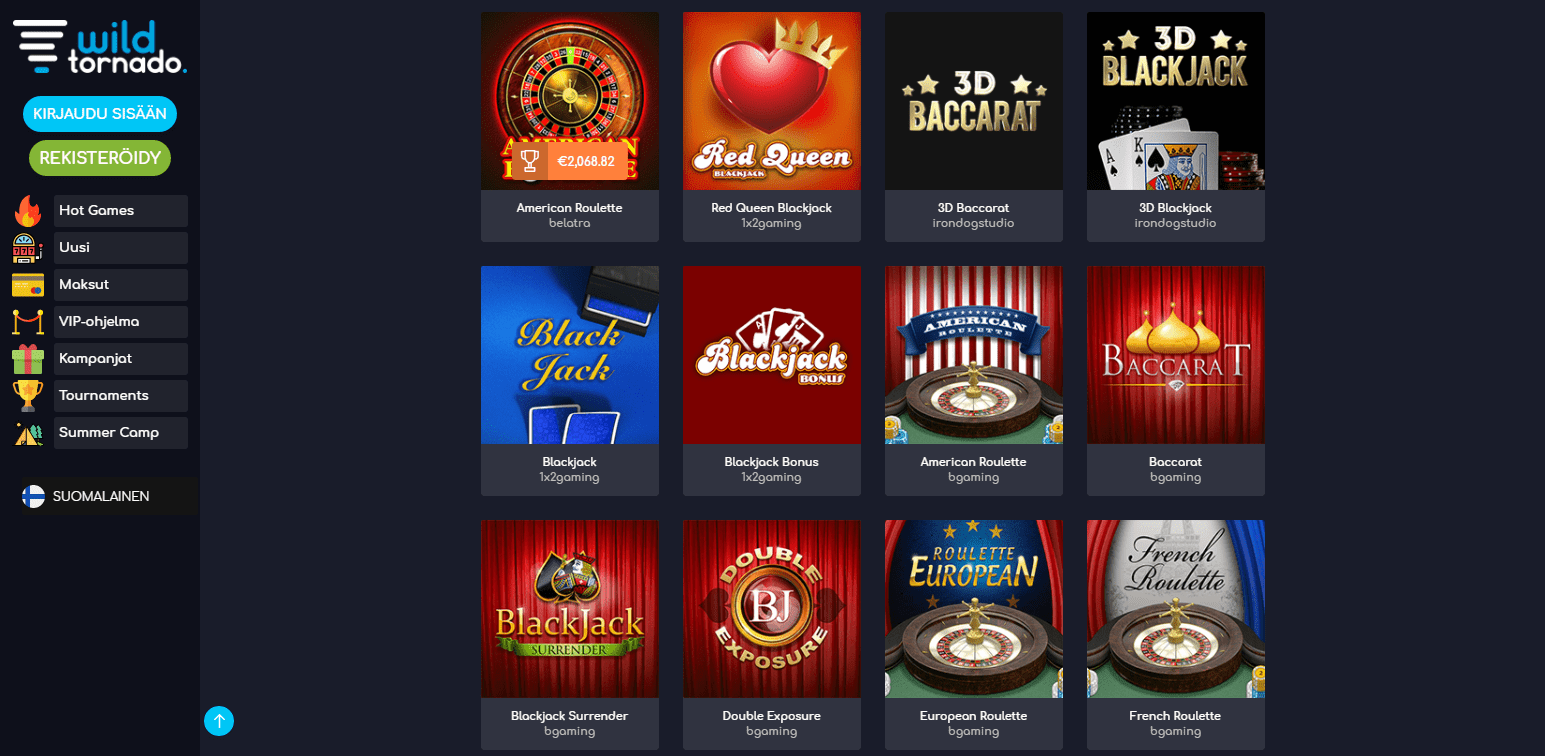 WildTornado Casino korttipelit